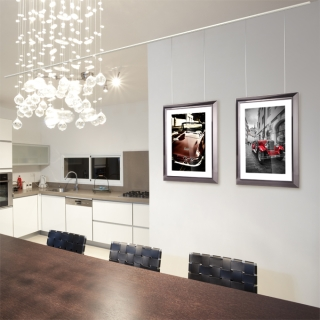 galerieschienen wanddekoration ratgeber. Black Bedroom Furniture Sets. Home Design Ideas